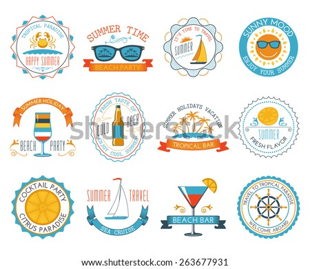 Happy summer time holiday travel sunny mood tropical paradise beach labels stickers set abstract isolated vector illustration - stock vector