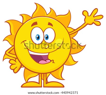 Happy Sun Cartoon Mascot Character Waving For Greeting. Vector Illustration Isolated On White Background - stock vector