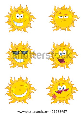 Happy Sun Mascot Cartoon Characters Set 2 - stock vector