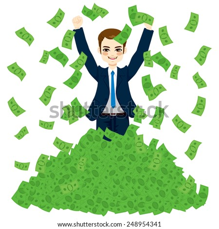 Happy super rich successful businessman raising from huge green money bills pile - stock vector