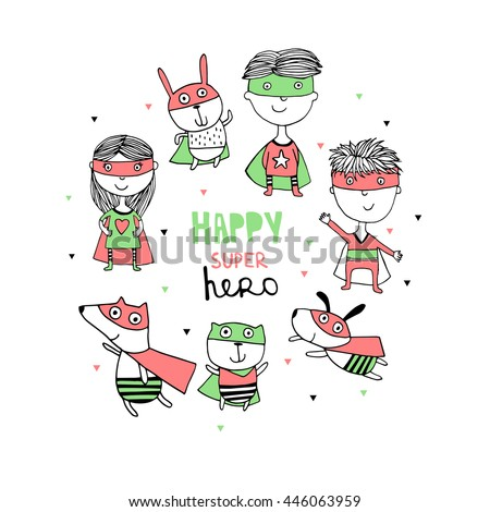 Happy supper hero kids and  cute animal - stock vector