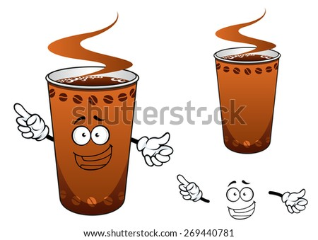 Happy takeaway brown hot coffee cup cartoon character decorated with coffee beans, for fast food or drink design - stock vector