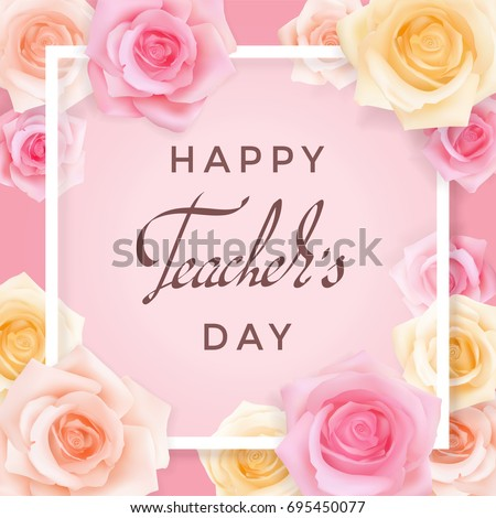 Happy teachers day greeting card transparent stock vector 695450077 happy teachers day greeting card transparent banner templates with congratulations and roses on a pink m4hsunfo