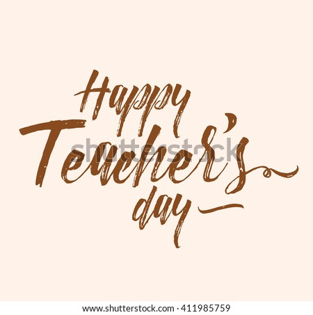 Happy teachers day vector typography. Lettering design for teacher's day greeting card, teacher's day logo, teacher's day stamp or teacher's day banner.