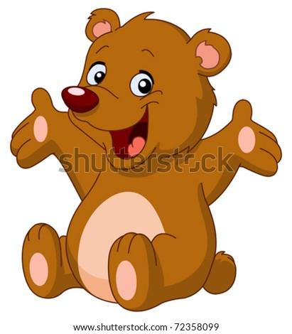 Happy teddy bear raising his arms - stock vector