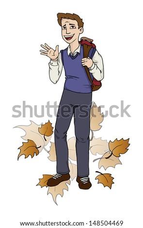 Happy teenager going to school, vector illustration - stock vector