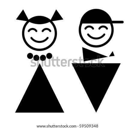 happy teenagers. WC - stock vector