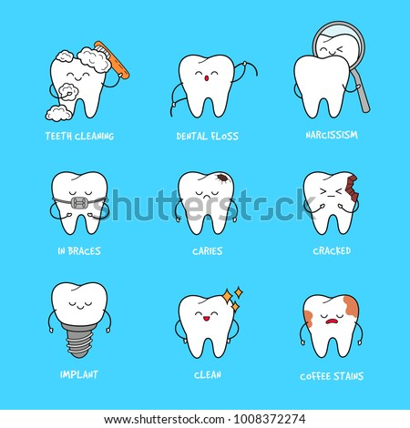 happy teeth set cute tooth characters �� ��� 1008372274