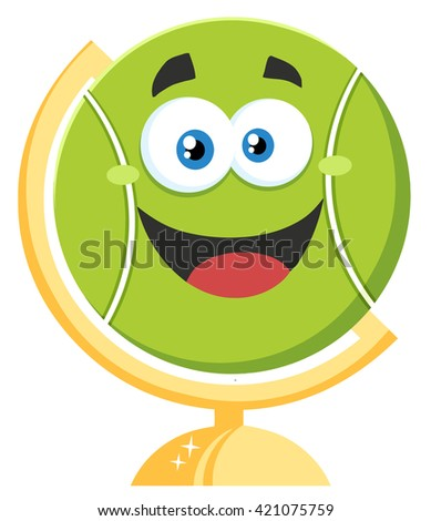 Happy Tennis Ball Cartoon Character On Desk Globe. Vector Illustration Flat Style Isolated On White - stock vector