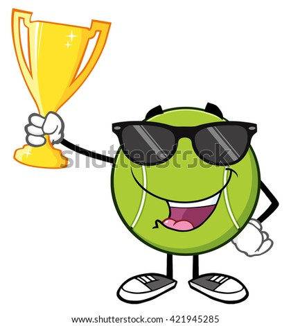 Happy Tennis Ball Cartoon Character With Sunglasses Holding A Trophy Cup. Vector Illustration Isolated On White - stock vector