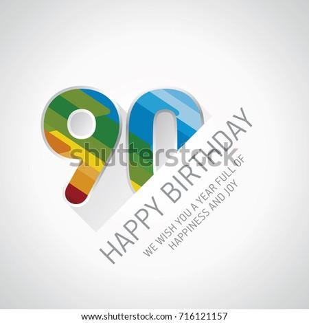 Happy 90th Birthday Color Design Greeting Stock Vector 716121157