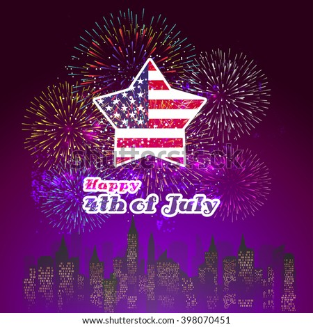 Happy 4th July independence day with fireworks background