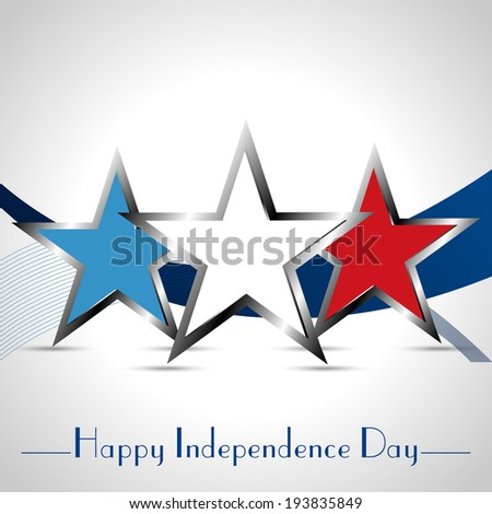 Happy 4th of July, American Independence Day wave background a set of three stars - stock vector