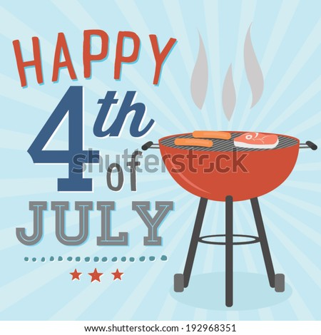 Happy 4th of July BBQ Grill Cookout Vector - stock vector