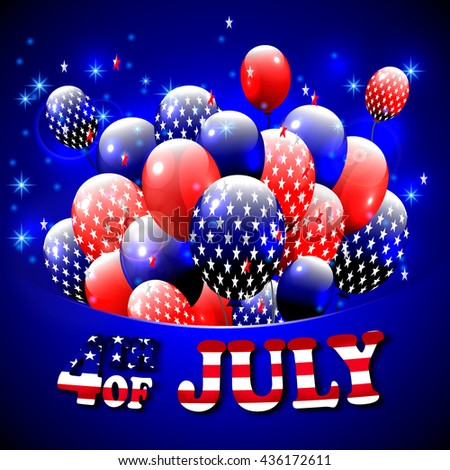 Happy 4th of July design. Blue background, balloons with stars, striped text. American independence day greetings. For invitation, party, bbq. vector