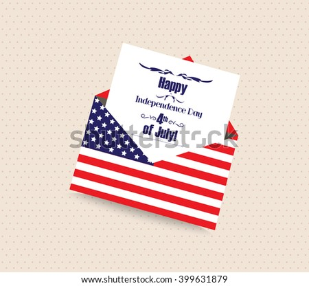 Happy 4th of July greeting card with envelope