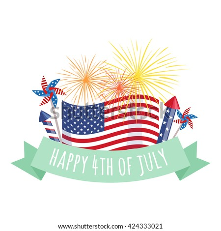 Happy 4th of July, Independence Day fireworks and flag with greeting ribbon - stock vector
