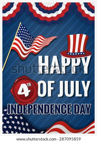 HAPPY 4th OF JULY INDEPENDENCE DAY Greeting Card Design For Card, Billboard, Cover, Poster. Independence day decoration celebration.