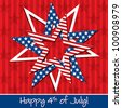 Happy 4th of July patterned star card in vector format. - stock vector