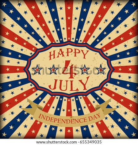 Happy 4th of July retro design. Independence Day background. Template for USA Independence Day. Vector illustration.