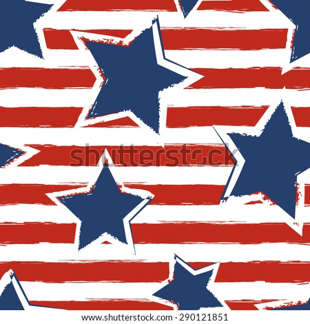 Happy 4th of July, USA Independence Day background. Vector seamless flag pattern, watercolor blue star and red stripes. Abstract design concept for greeting card, banner, flyer, poster. - stock vector