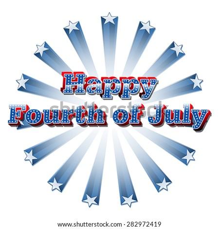 Happy 4th of July, vector - stock vector