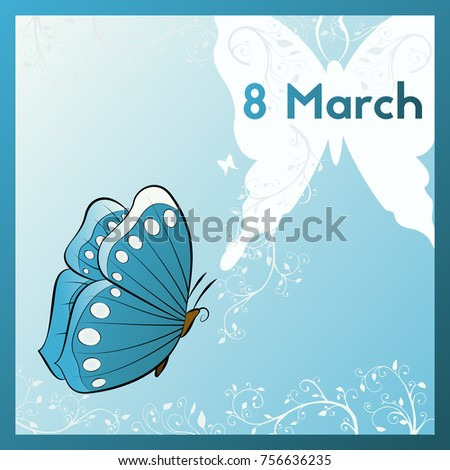 Eighth March Greeting Card Template Butterfly Stock Vector ...