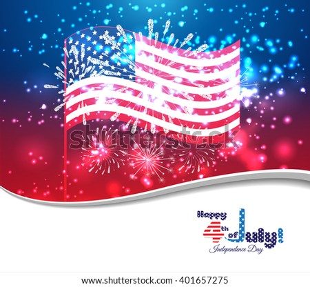 Happy 4th ofJuly independence day with fireworks background - stock vector
