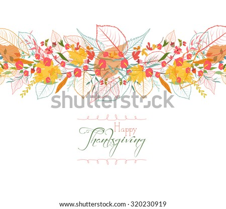 Happy Thanksgiving. Background of stylized autumn leaves for greeting cards - stock vector