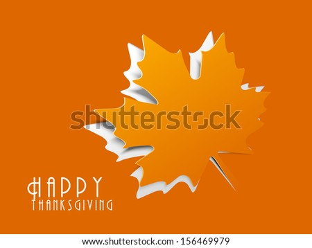 Happy Thanksgiving background with maple leaf.  - stock vector