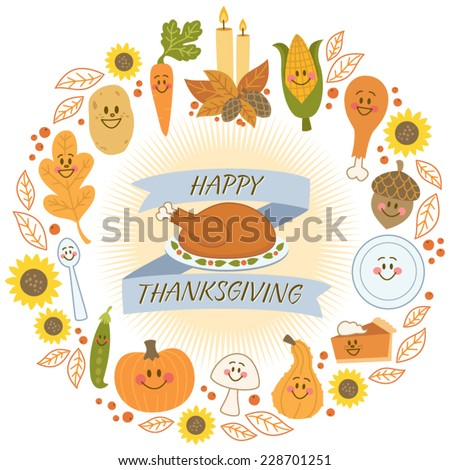 Happy Thanksgiving Banner and Cute Food Characters - stock vector