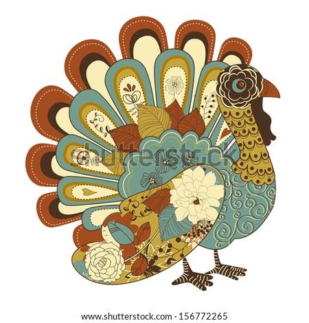 Happy Thanksgiving beautiful turkey card  - stock vector