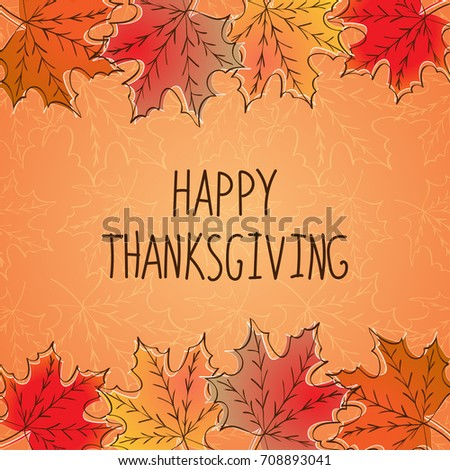 Happy Thanksgiving Card Template Red Yellow Stock Vector - Thanksgiving card template