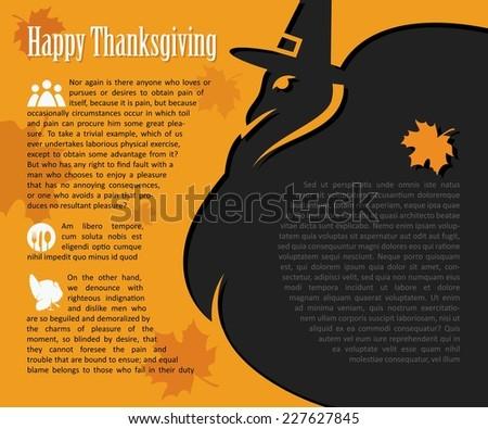 Happy Thanksgiving card with pilgrim turkey - infographics - vector illustration - stock vector