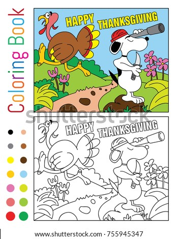 Happy Thanksgiving Coloring Book Turnkey Snoopy Stock Vector ...