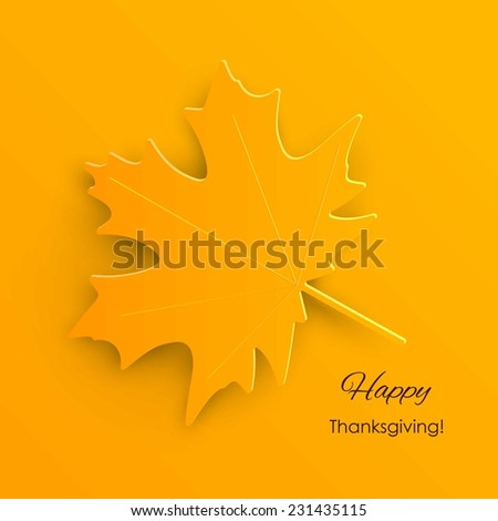 Happy Thanksgiving Day background with  autumn maple leaves - stock vector