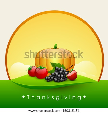 Happy Thanksgiving Day background with fruits and vegetables.  - stock vector