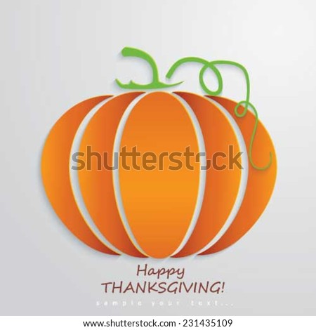 Happy Thanksgiving Day background with pumpkin - stock vector