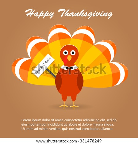 Happy Thanksgiving day background with turkey, vector illustration - stock vector
