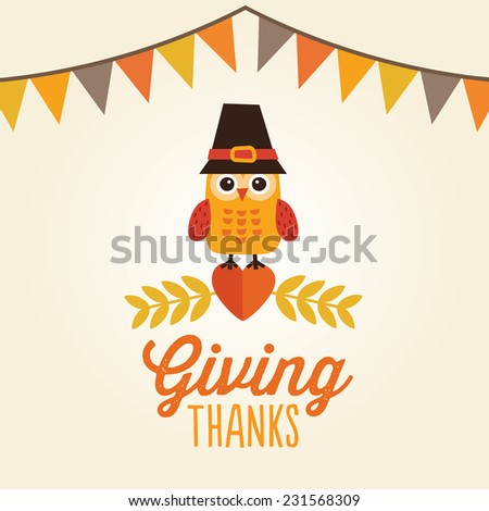 Happy Thanksgiving Day card, poster or menu design with bunting flags and cute owl in pilgrim hat sitting on a heart. Message reads Giving Thanks. - stock vector