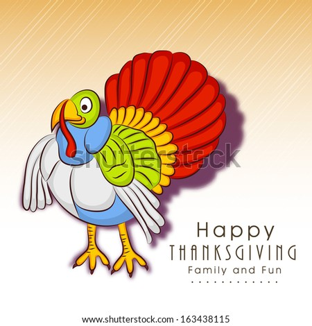 Happy Thanksgiving Day celebration concept with colorful turkey bird on abstract background, can be use as flyer, banner or poster.  - stock vector