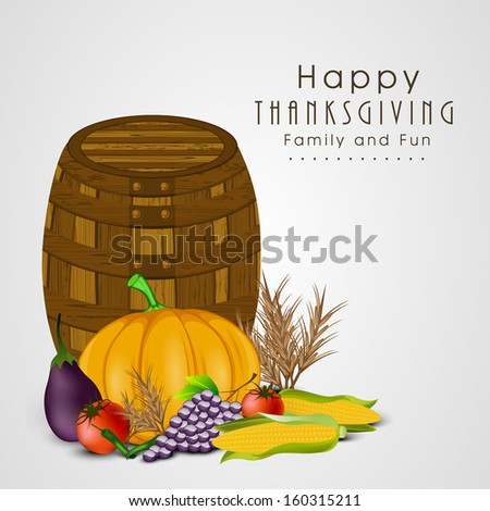 Happy Thanksgiving Day celebration concept with fruits, vegetables and empty wooden basket on grey background. 	 - stock vector