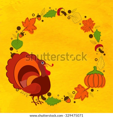 Happy Thanksgiving Day celebration greeting card decorated with Turkey Bird, autumn leaves, fruits and pumpkins on yellow background.  - stock vector