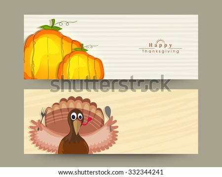 Happy Thanksgiving Day celebration website header or banner set with pumpkins and Turkey Bird. - stock vector