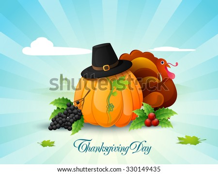 Happy Thanksgiving Day celebration with fruits, vegetables, pilgrim hat and Turkey Bird on abstract rays background. - stock vector
