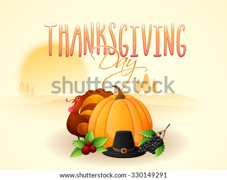 Happy Thanksgiving Day celebration with Turkey Bird, pumpkin and pilgrim hat on nature background.