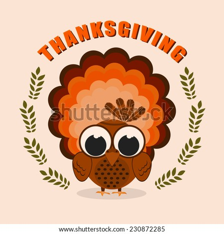 Happy Thanksgiving Day celebrations greeting card design with turkey bird on beige background. - stock vector