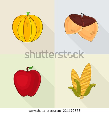 Happy Thanksgiving Day celebrations set with pumpkin, acorn, apple and corn on colourful background. - stock vector