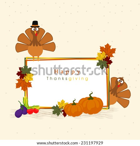 Happy Thanksgiving Day celebrations with turkey birds, maple leaves, pumpkins and wishing text on beige background. - stock vector