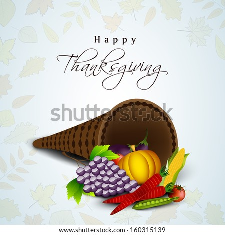 Happy Thanksgiving Day concept with fruits, vegetables on maple leaves seamless background.  - stock vector